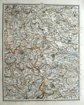 YORKSHIRE LANCASHIRE MANCHESTER SKIPTON JOHN CARY GENUINE ANTIQUE MAP  c1822