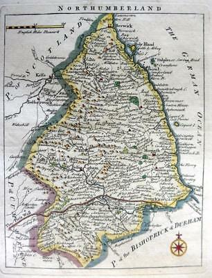 NORTHUMBERLAND NEWCASTLE   BY JOHN ROCQUE GENUINE ANTIQUE MAP  c1769