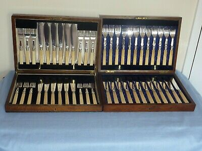 2 George V Boxed canteen sets of Walker & Hall cutlery 24 knives & 24 forks