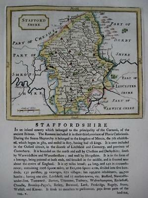 STAFFORDSHIRE  BY JOHN SELLER AND FRANCIS GROSE GENUINE ANTIQUE MAP  c1787