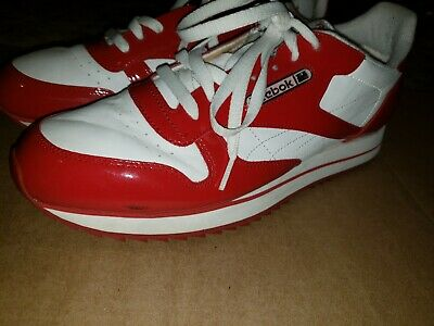 5c545c1421e Mens Reebok Classic Leather Red Patent White Sneaker Size 12 RB 502 PYE