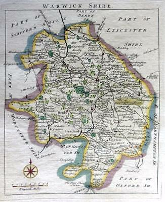WARWICKSHIRE COVENTRY RUGBY    BY JOHN ROCQUE GENUINE ANTIQUE MAP  c1769