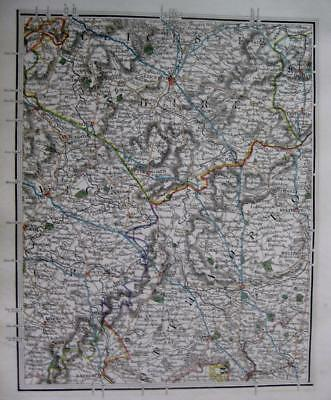 LEICESTER  NORTHAMPTON  WARWICK  COVENTRY  JOHN CARY GENUINE ANTIQUE MAP  c1824