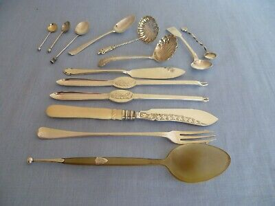 Various SOLID SILVER cutlery, lobster pics, spoons, knives, pickle fork, ladles