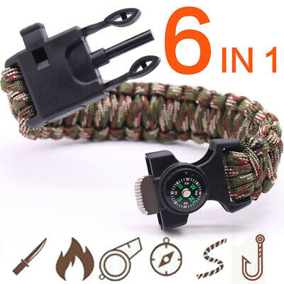 6 In 1 Multifunction Outdoor Survival Bracelet - See In Description- BRAND NEW!!