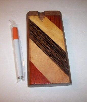 """4"""" Wood Dugout One Hitter Smoking Pipe Multi-Color Stripes Design"""