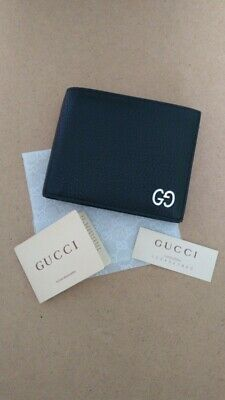 07e03e9d490 Authentic Gucci Men Black Leather Wallet Silver Metal GG Purse Made in Italy