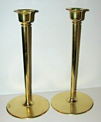 Early 1900's Substantial Bronze Brass Arts & Crafts Mission Candlestick Pair