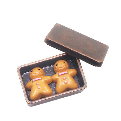 Lovely 1:12 Dollhouse Miniatures Accessories Bronze Biscuit Box with Cookies