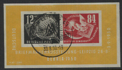 Germany DDR 1950 DEBRIA Stamp Exhibition Souvenir Sheet Used (CTO)