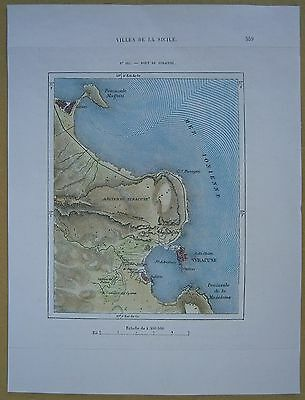 1875 Perron map PORT OF SIRACUSA, SICILY, ITALY (#105)