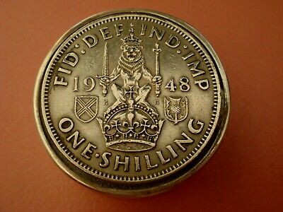 Solid Sterling Silver Hallmarked George Vi 1948 Coin Set Snuff Pill Box