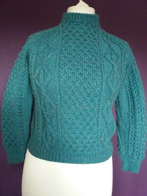 """Vintage Green Speckle Childs Hand Knitted Aaron Jumper - 36"""" Chest"""