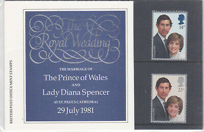 1981 The Royal Wedding Set; Presentation Pack127a; Mint, in folder as issued