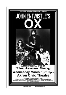 John Entwistle / James Gang / The Who 1975 Akron Concert Poster