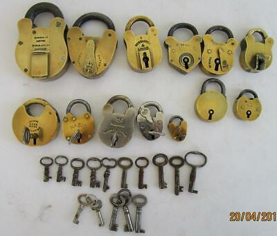 Bulk Lot Antique Brass & Steel Padlocks Various Sizes Shapes + 15 Vintage Keys