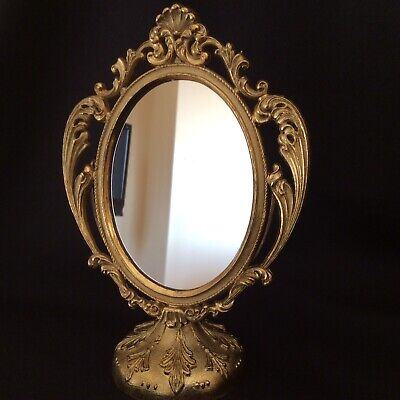 Vintage Small Art Nouveau  Brass Table Mirror Flair 5th Ave.Italy