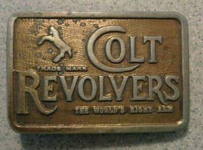 Vintage COLT REVOLVERS Ad Belt Buckle The Worlds Right Arm Horse Pony small
