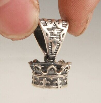 Unique China 925 Silver Hand Carving Crown Pendant Cool Gift Collection