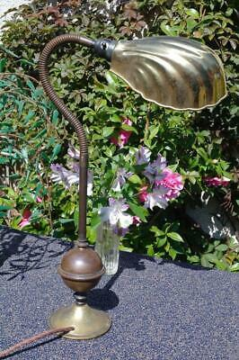 Large Vintage Art Deco Shell Lamp Industrial 1920s Machine Age Bronze Task Light