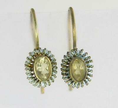 Vintage Estate Gold Gilded 925 Sterling Silver Citrine Dangle Earrings