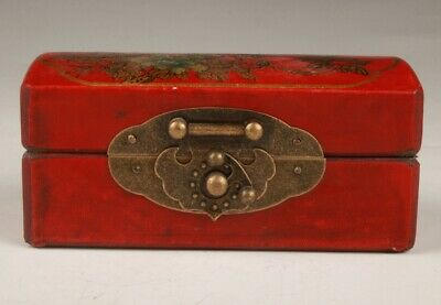 Chinese Red Leather Wood Handmade Painting Flower Box Practical Gift Collection