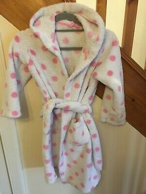 Girls Dressing Gown Marks And Spencer White With Pink Spots Age 9-10 Years