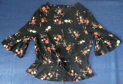 Printed Peplum Blouse Top Floral Size 8 V By Very Petite BNWT