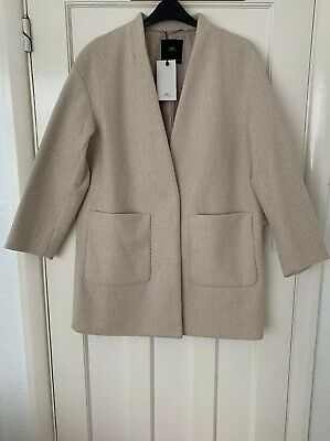 ZARA LIGHT GREY GRAY SOFT FABRIC INVERTED LAPELS JACKET COAT size L 2268//828