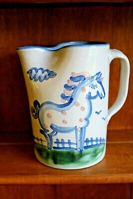"M A Hadley Horse Pitcher Pinched Spout 64 Oz  7 7/8"" High"