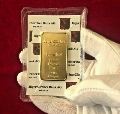 Lingotto oro placcato 1 Oncia JagerZurcher Bank 999,9 1oz Gold Plated Bar 24k