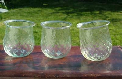 3 x EARLY VICTORIAN GLASS HAND BLOWN + PONTIL CHRISTMAS TREE FAIRY LIGHTS LOT 3