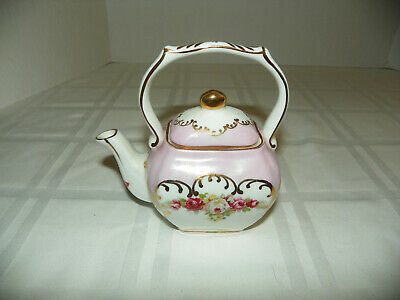 Small Vintage Chinese  Asian Hand Painted Ornate Porcelain One Cup Teapot