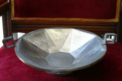 Large Art Deco Centerpiece Knighthood Pewter Footed Bowl Hammered Geometric 30's
