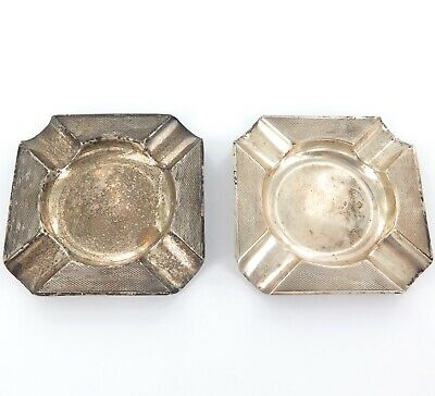 .1948 Mappin & Webb Matching Pair Hallmarked Sterling Silver Ashtrays.