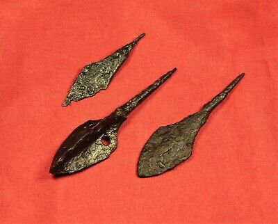 Lot of 3 Medieval Iron Arrowheads