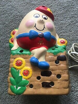 Vintage Hand Painted Humpty Dumpty Pottery Lamp From England