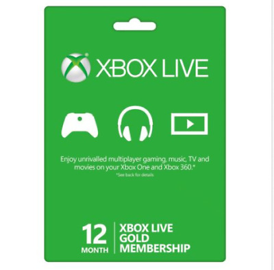 Microsoft 12 Month Xbox Live Gold Membership Subscription Quick Delivery 2019