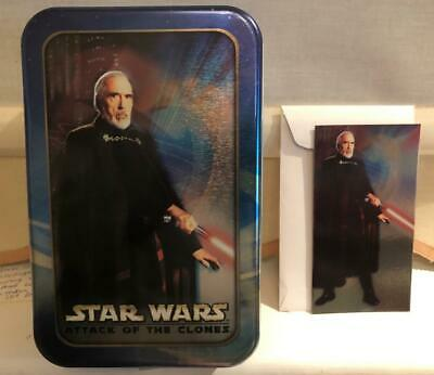 Star Wars Attack of the Clones Topps Collectors Tin, card & envelope Count Dooku