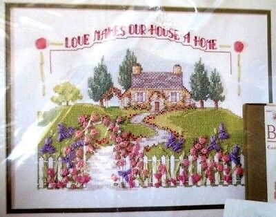 BUCILLA cross stitch & ribbon embroidery kit -love makes a  house a home