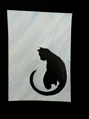 Mountain Lion original painting ARTIST TRADING CARD signed ACEO Cougar Big Cat