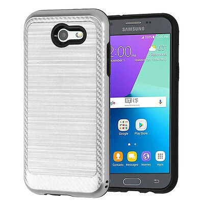 Samsung Galaxy J7 2017 Sky Pro J7 V Perx Silver Brushed Rugged Case Carbon Cover