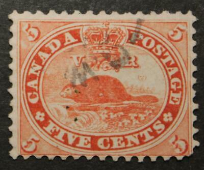 Canada #15 Used, 1859 5 Cent Beaver Issue, No Tears Or Thins