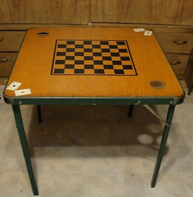 Vintage Painted Checkerboard,poker,folding Card Table,game Table