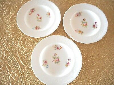 Coalport England 3 Salad Plates Floral W/ Embossed Scalloped Edge
