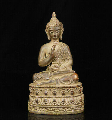 China Old Collectible Hand-Carved Red Copper Spiritual Buddha Statue