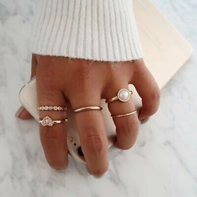 5pc/Set Boho Stack Plain Above Knuckle Ring Midi Finger Heart Crystal Pearl Ring