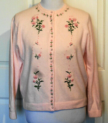 Vintage Pink Embroidered Sweater Swatow Arts & Co. Hong Kong B40