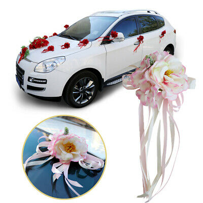 Wedding Car Rearview Mirror Decor Door Handles Artificial Flower