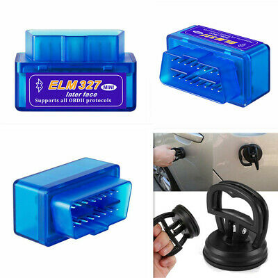 Mini Bluetooth ELM327 OBD2 II Auto Car OBD2 Diagnostic Scanner Tool +Suction Cup